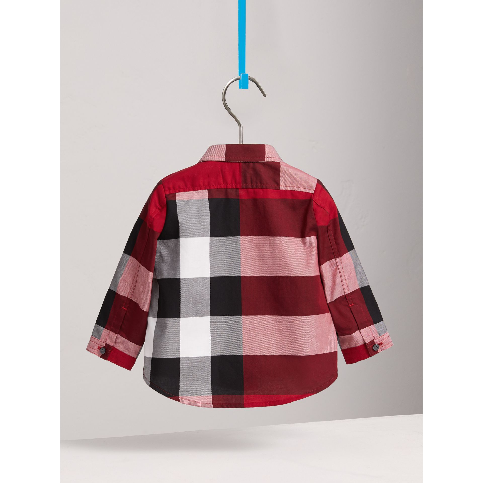 Check Cotton Shirt in Parade Red | Burberry - gallery image 3