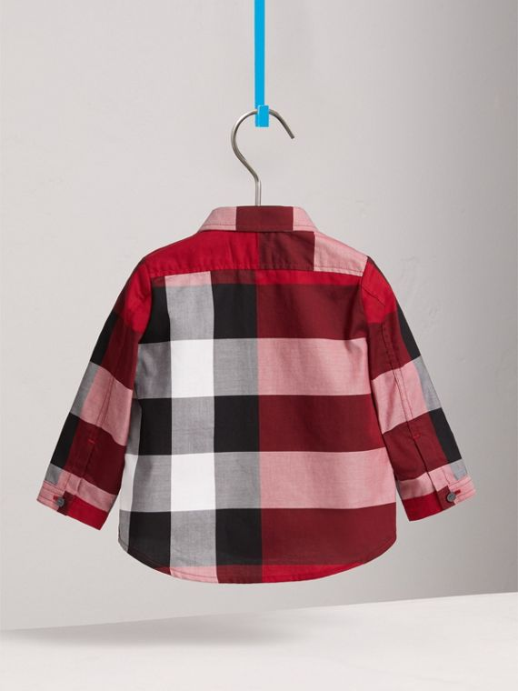 Check Cotton Shirt in Parade Red | Burberry - cell image 3