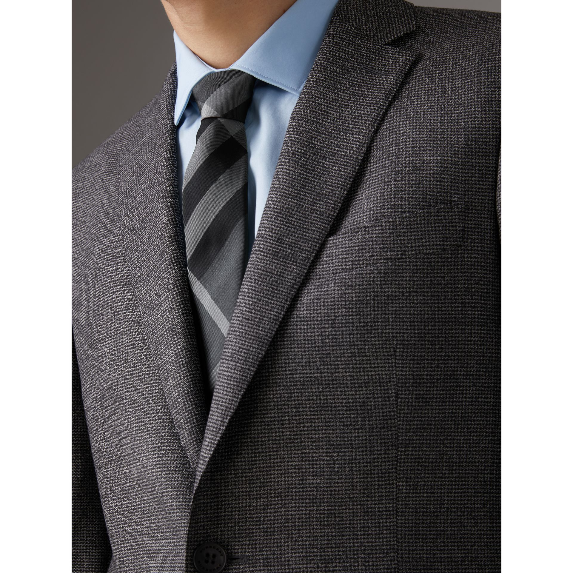 Modern Cut Check Silk Twill Tie in Charcoal - Men | Burberry United Kingdom - gallery image 2