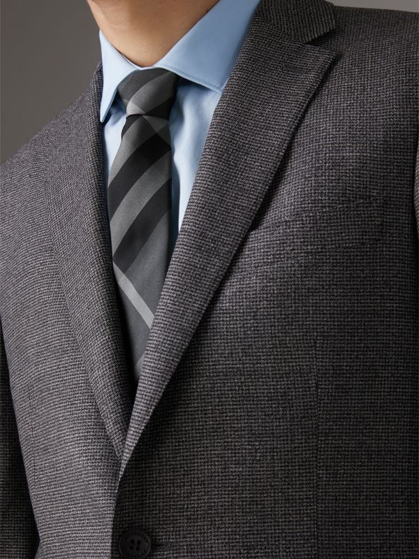 Modern Cut Check Silk Twill Tie in Charcoal - Men | Burberry Hong Kong - cell image 2