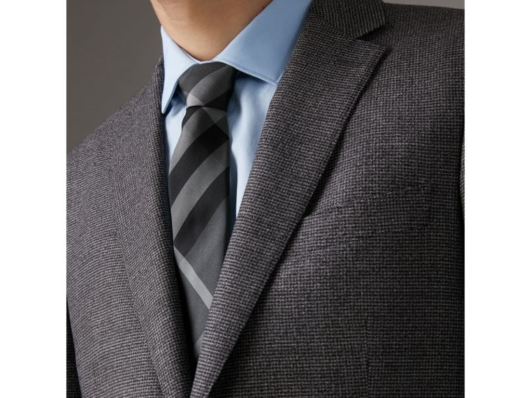 Modern Cut Check Silk Twill Tie in Charcoal - Men | Burberry United Kingdom - cell image 2