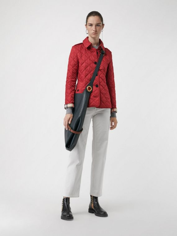 Diamond Quilted Jacket in Parade Red