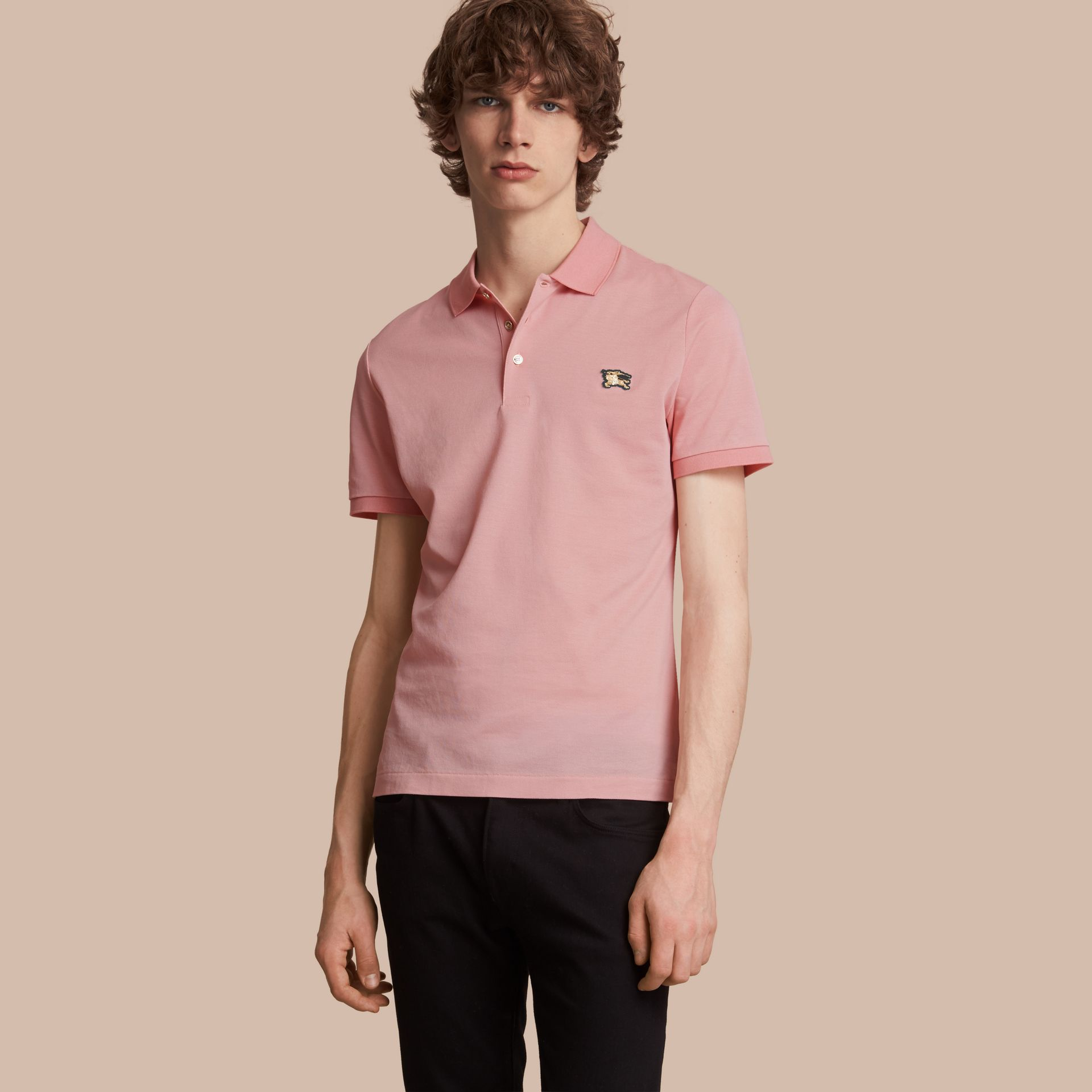 Cotton Piqué Polo Shirt in Chalk Pink - Men | Burberry Canada - gallery image 1