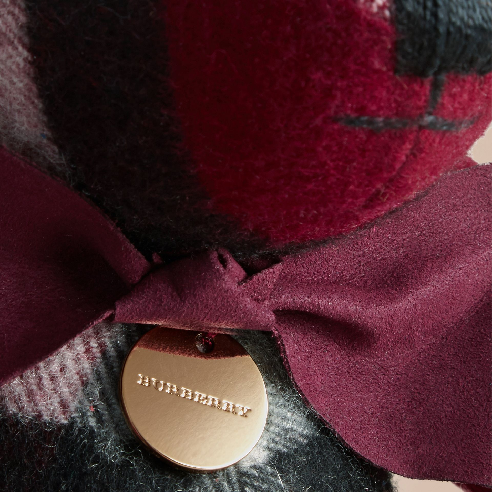 Thomas Bear in Check Cashmere in Plum | Burberry Australia - gallery image 1