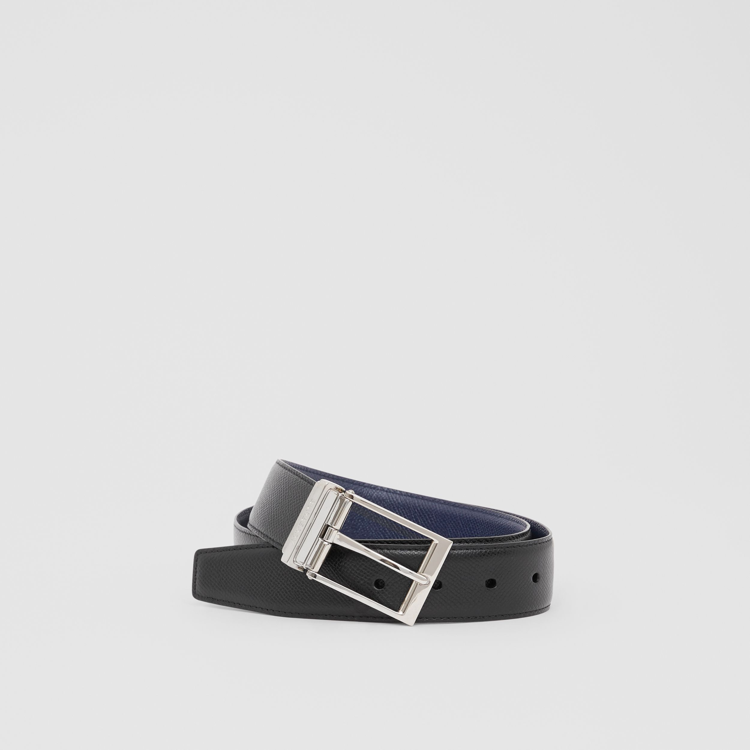 Reversible Grainy Leather Belt in Navy/black - Men | Burberry - 1