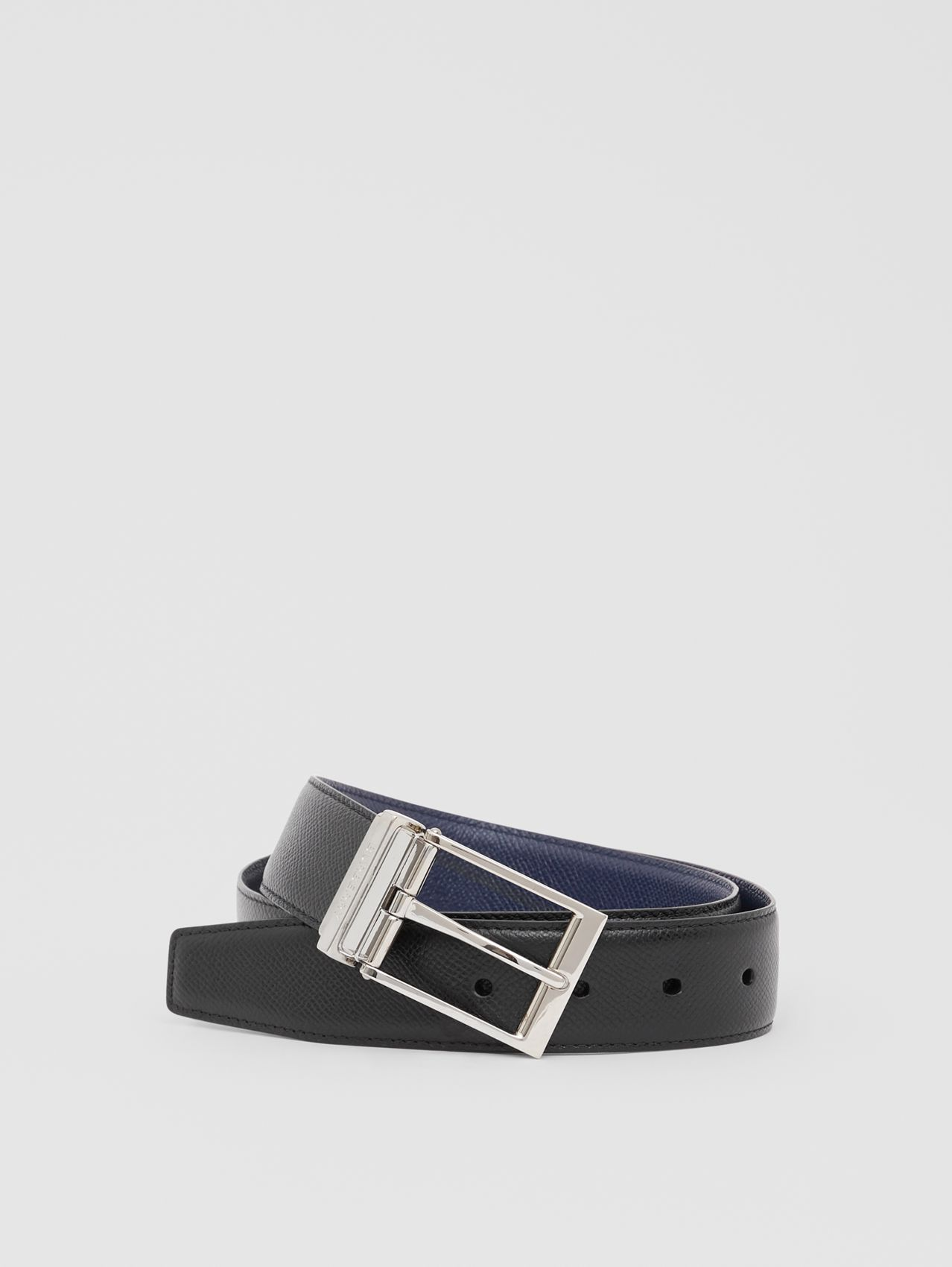 Reversible Grainy Leather Belt in Navy/black