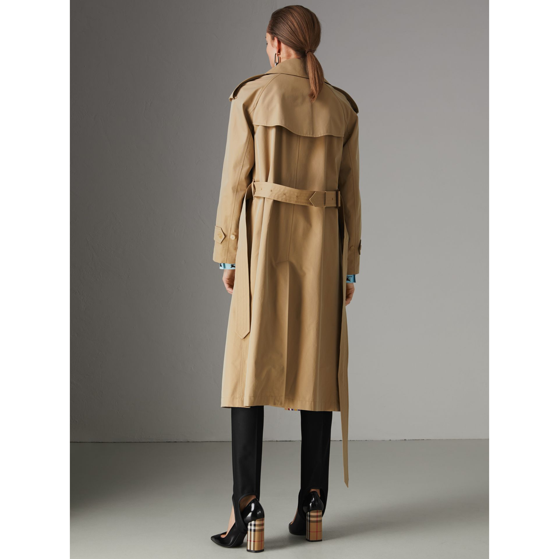Striped Ribbon Gabardine Oversized Trench Coat in Honey - Women | Burberry United Kingdom - gallery image 2