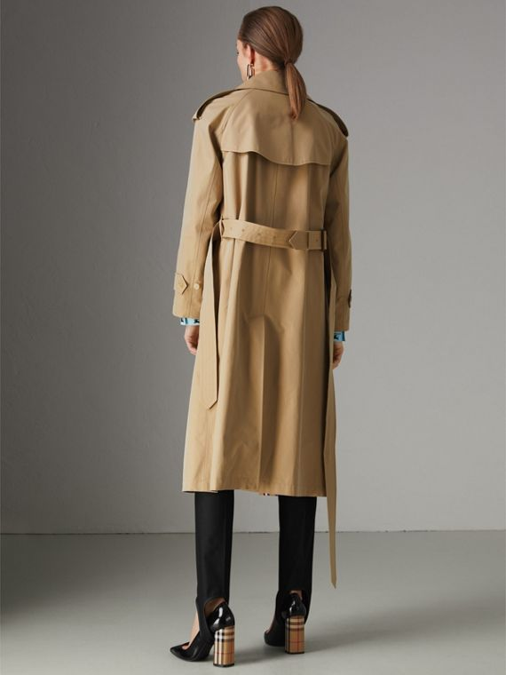 Collegiate Stripe Cotton Gabardine Trench Coat in Honey - Women | Burberry United States - cell image 2