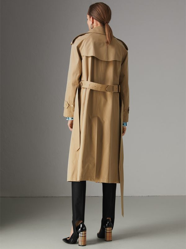 Striped Ribbon Gabardine Oversized Trench Coat in Honey - Women | Burberry - cell image 2