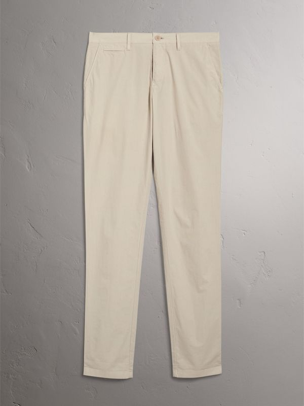 Slim Fit Cotton Poplin Chinos in Stone - Men | Burberry - cell image 3