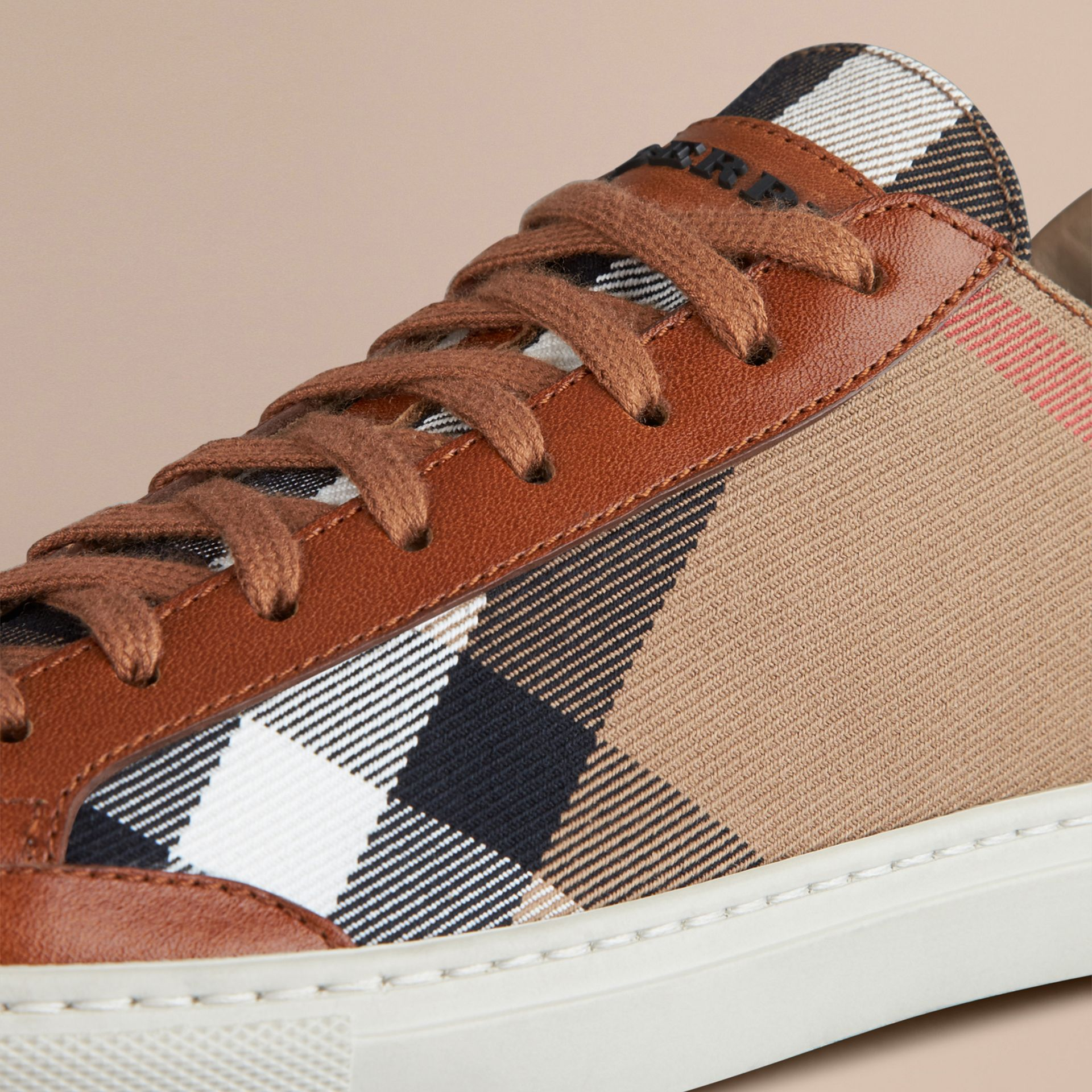 Tan House Check Canvas Trainers - gallery image 5