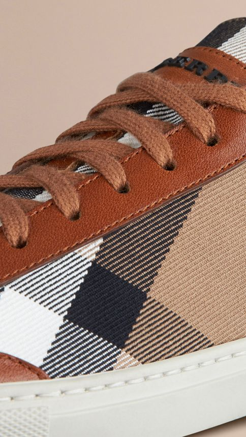 Tan House Check Canvas Trainers - Image 5