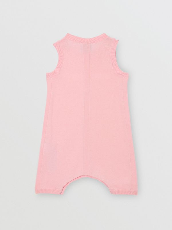 Logo Print Cotton Bodysuit in Pale Rose Pink - Children | Burberry - cell image 3