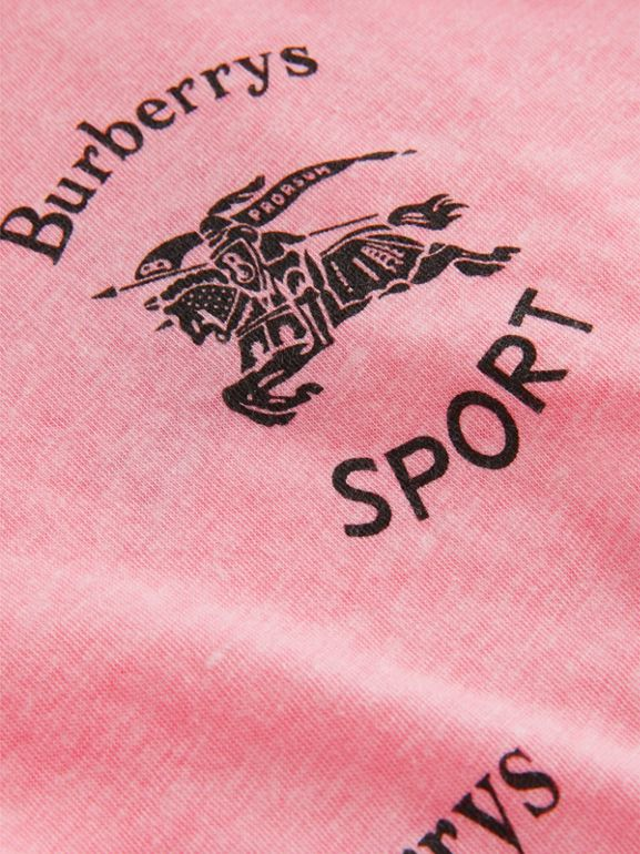 Archive Logo Print Jersey T-shirt in Neon Pink - Girl | Burberry - cell image 1