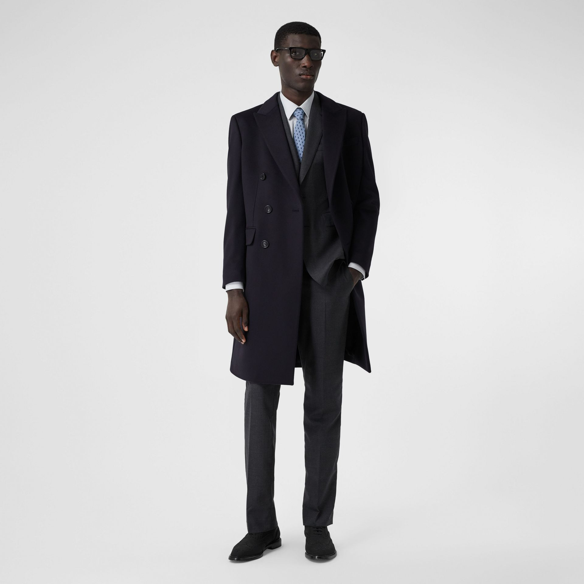 Wool Cashmere Tailored Coat in Navy - Men | Burberry - gallery image 0