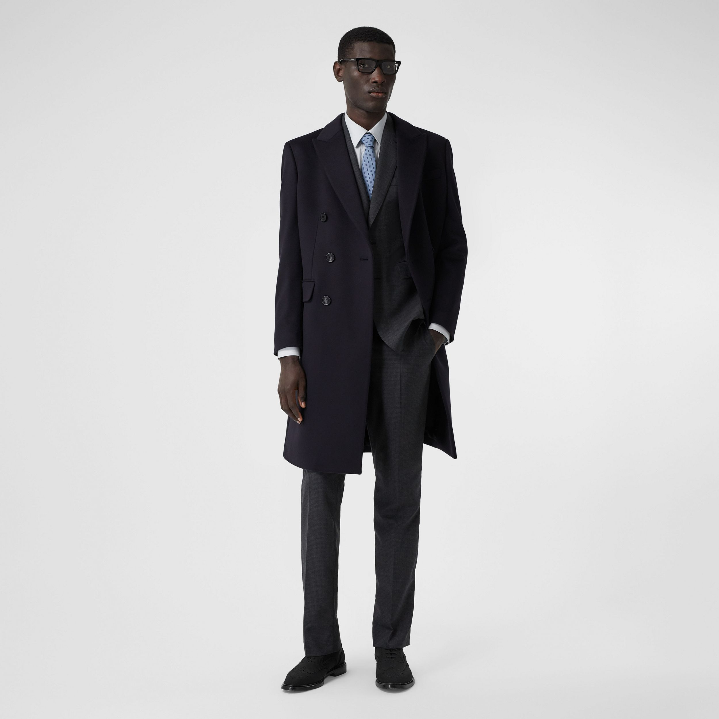 Wool Cashmere Tailored Coat in Navy - Men | Burberry - 1
