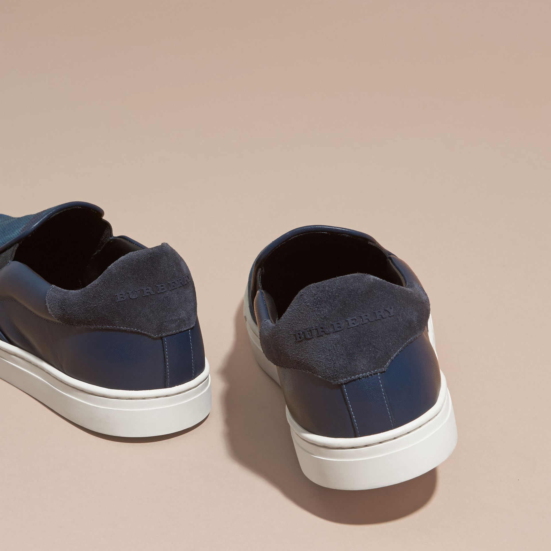 Ultramarine blue/blk Canvas Check and Leather Slip-on Trainers Ultramarine Blue/blk - gallery image 4