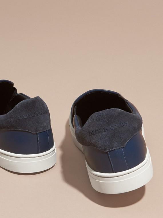Azul ultramar/negro Zapatillas deportivas sin cordones de piel y checks Canvas Azul Ultramar/negro - cell image 3