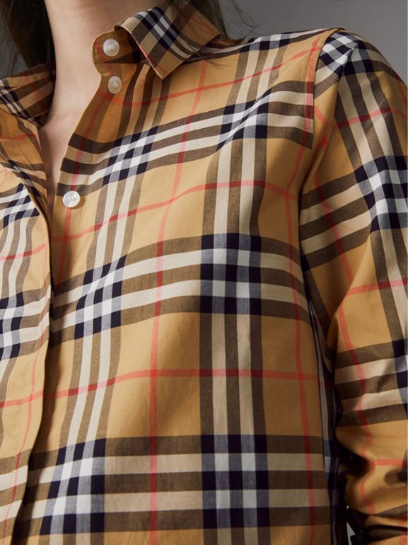 Vintage Check Cotton Shirt in Antique Yellow - Women | Burberry United Kingdom - cell image 1