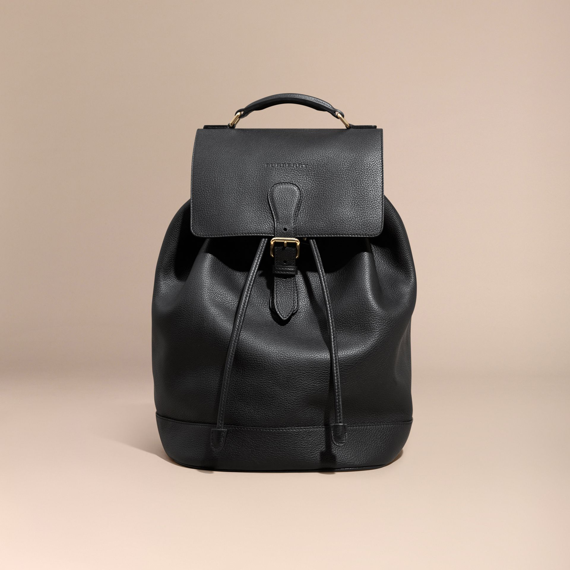 Black Grainy Leather Backpack Black - gallery image 7