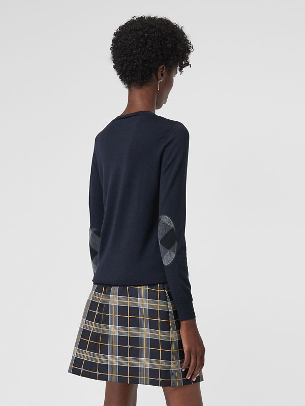 Check Detail Merino Wool Sweater in Navy - Women | Burberry United Kingdom - cell image 2