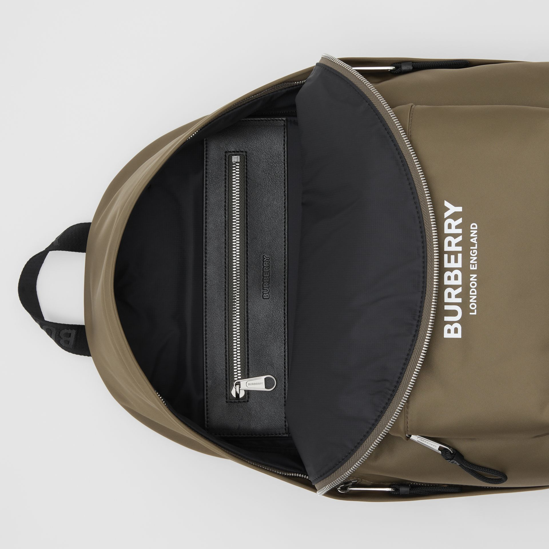 Logo Print Nylon Backpack in Canvas Green | Burberry - gallery image 3