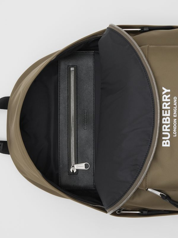 Logo Print Nylon Backpack in Canvas Green | Burberry - cell image 3