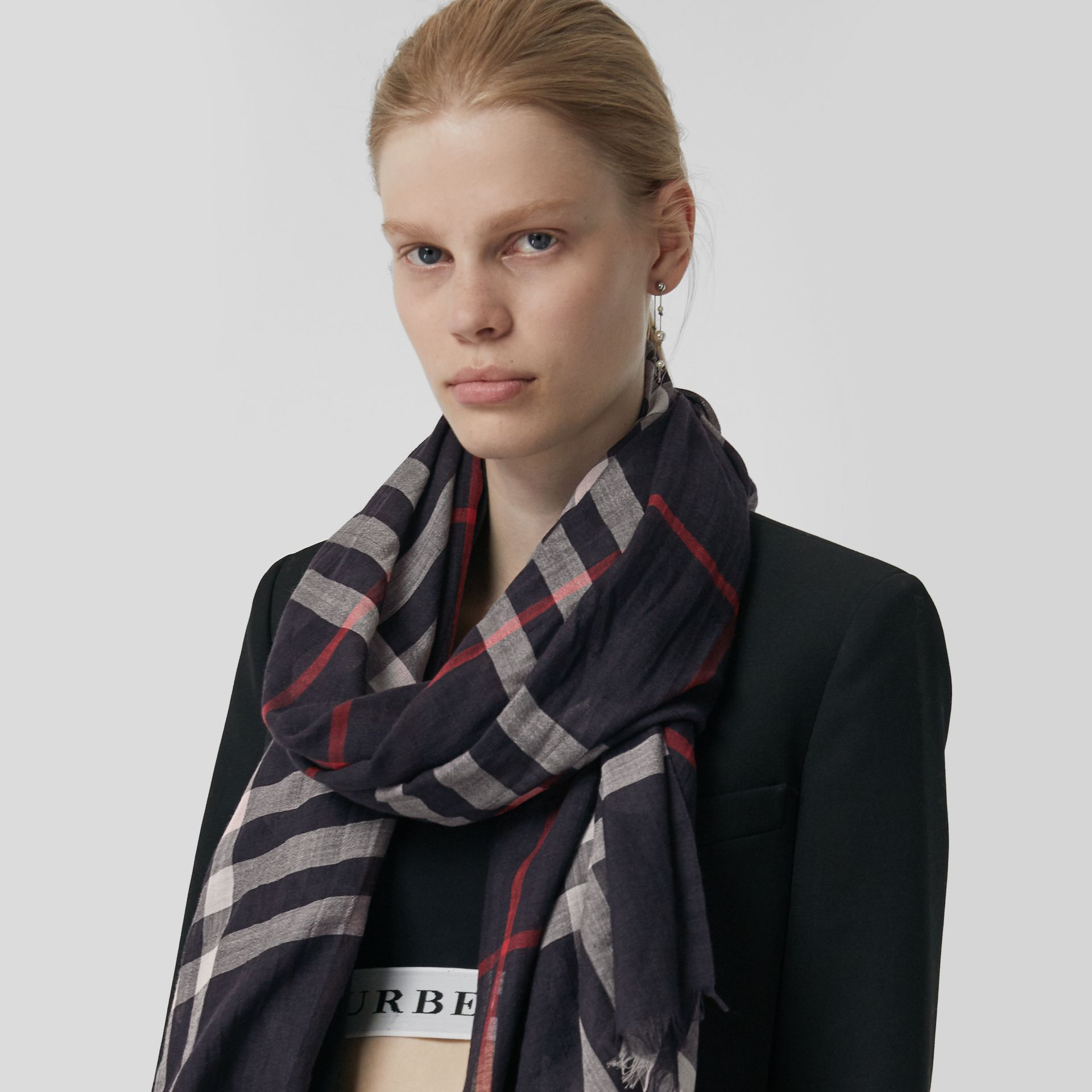 Lightweight Check Wool and Silk Scarf in Navy | Burberry Australia - gallery image 5