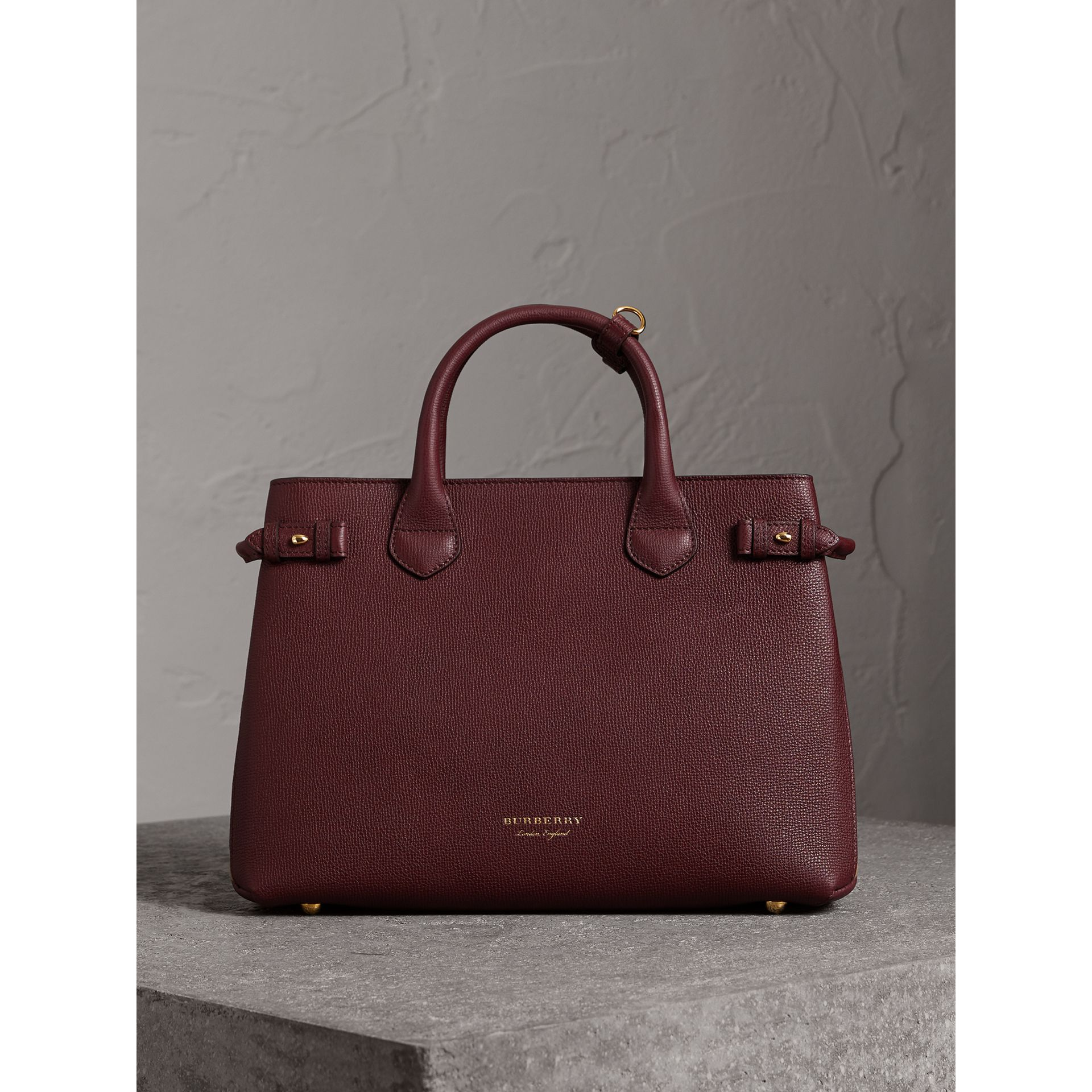 The Medium Banner in Leather and House Check in Mahogany Red - Women | Burberry - gallery image 5