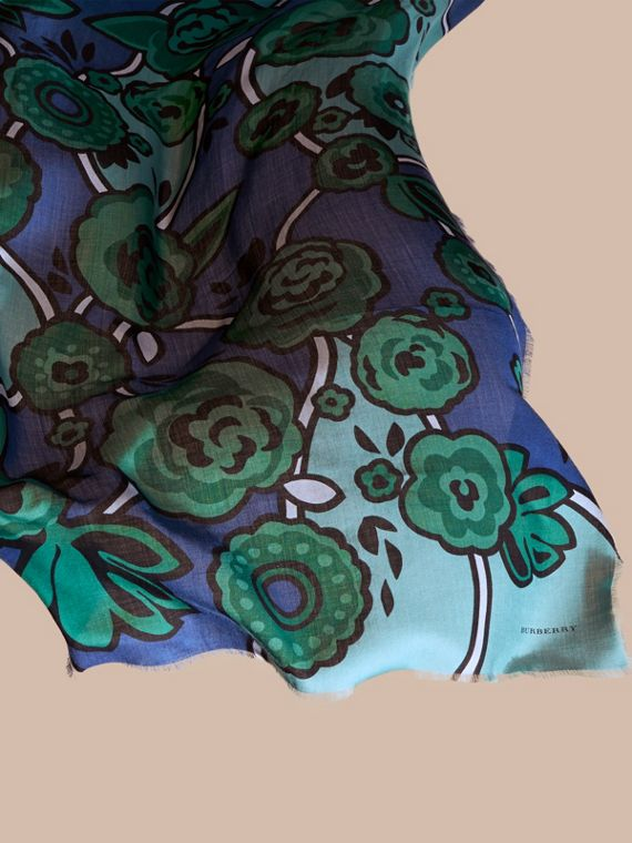 Bright steel blue Abstract Floral Cashmere Scarf Bright Steel Blue - cell image 3