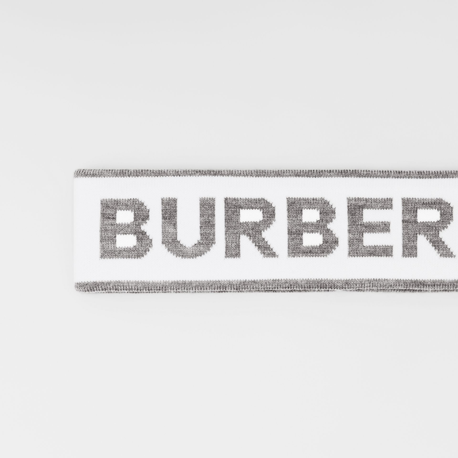 Logo Intarsia Wool Blend Headband in White/mid Grey | Burberry United States - gallery image 1