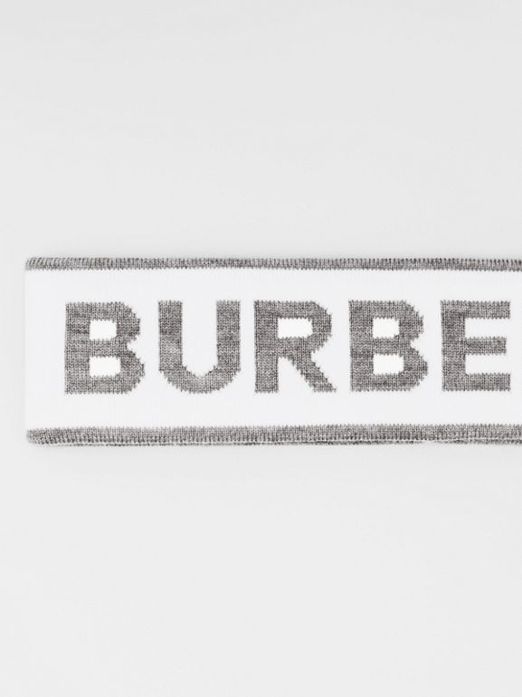 Logo Intarsia Wool Blend Headband in White/mid Grey | Burberry - cell image 1