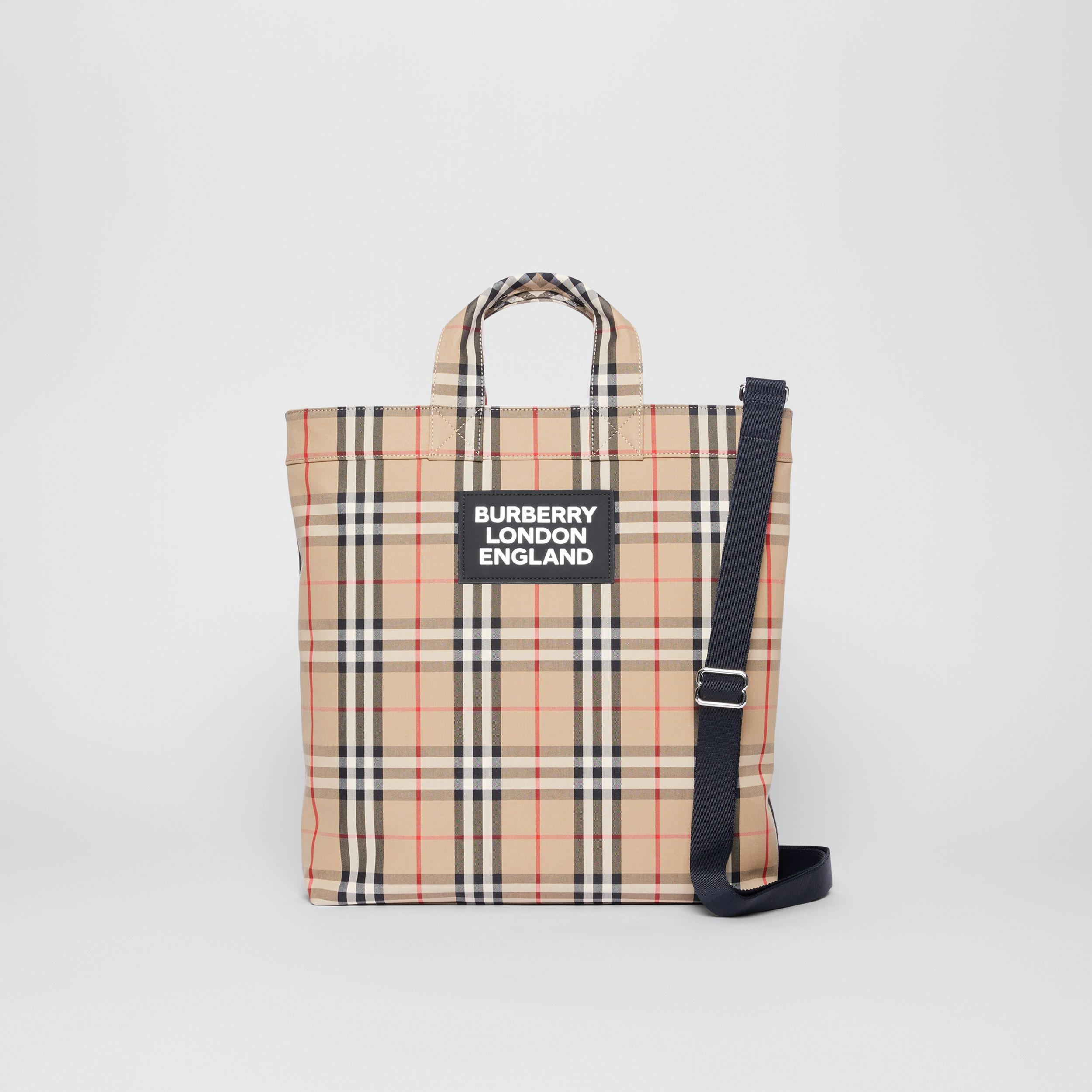 Logo Appliqué Vintage Check Cotton Blend Tote in Archive Beige - Men | Burberry - 1