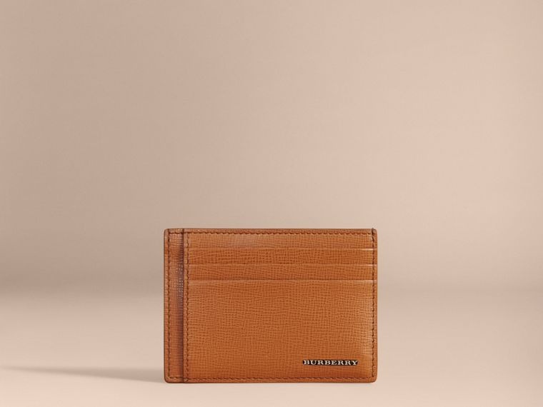 London Leather Money Clip Card Case in Tan - Men | Burberry - cell image 1