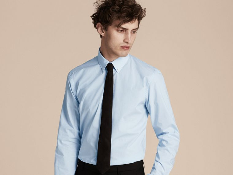 Modern Fit Button-down Collar Gingham Cotton Shirt in City Blue - cell image 1