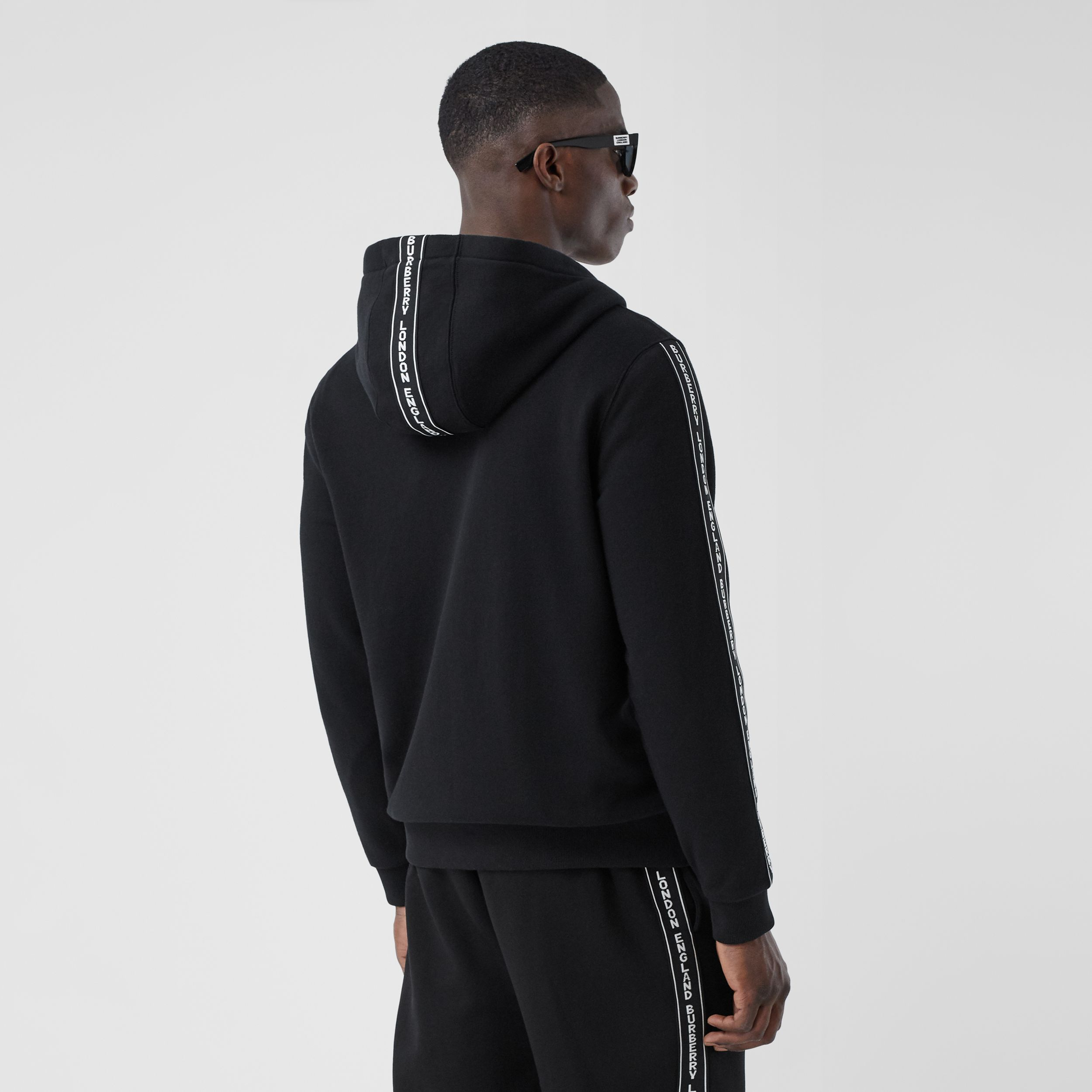 Logo Tape Cotton Hooded Top in Black - Men | Burberry Australia - 3
