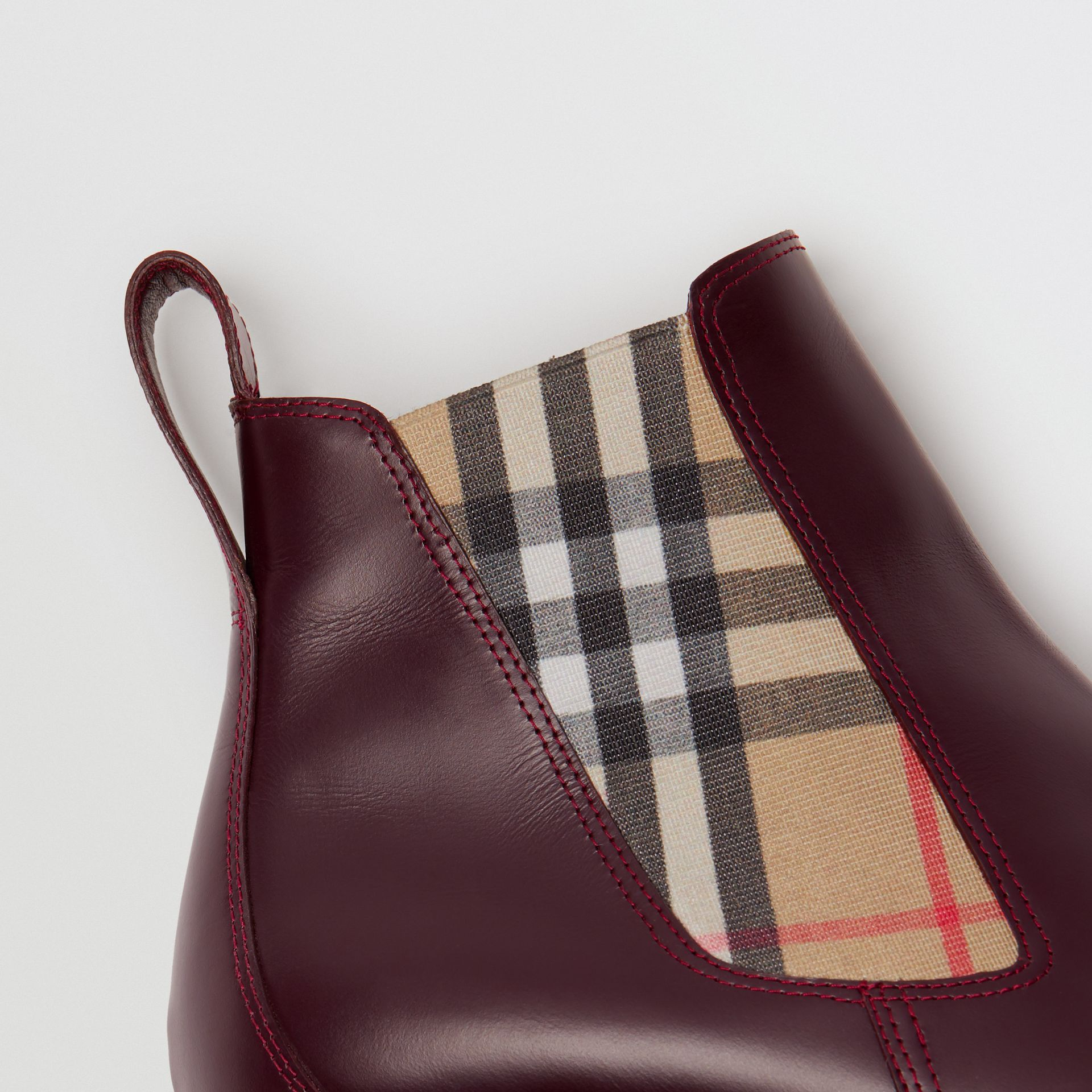 Vintage Check Detail Leather Chelsea Boots in Oxblood - Women | Burberry Singapore - gallery image 1