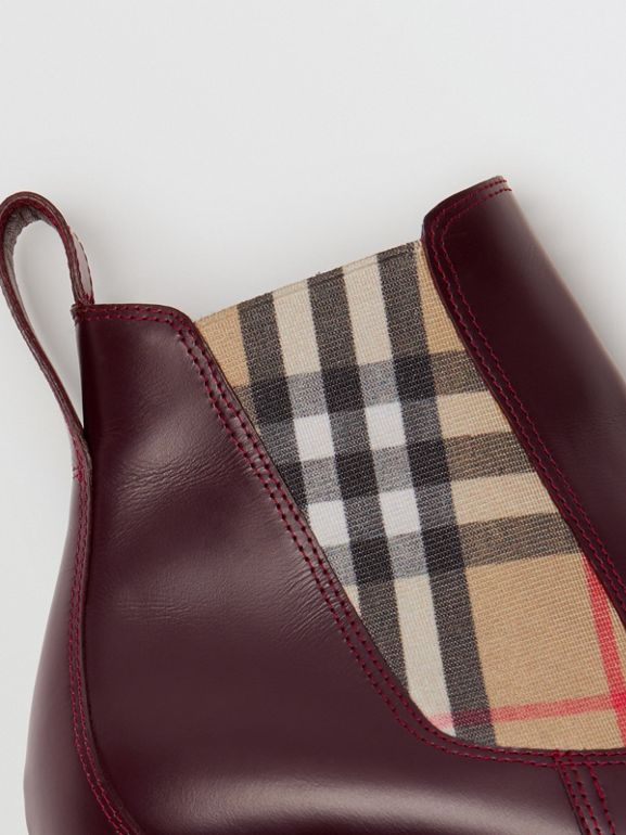 Vintage Check Detail Leather Chelsea Boots in Oxblood - Women | Burberry - cell image 1