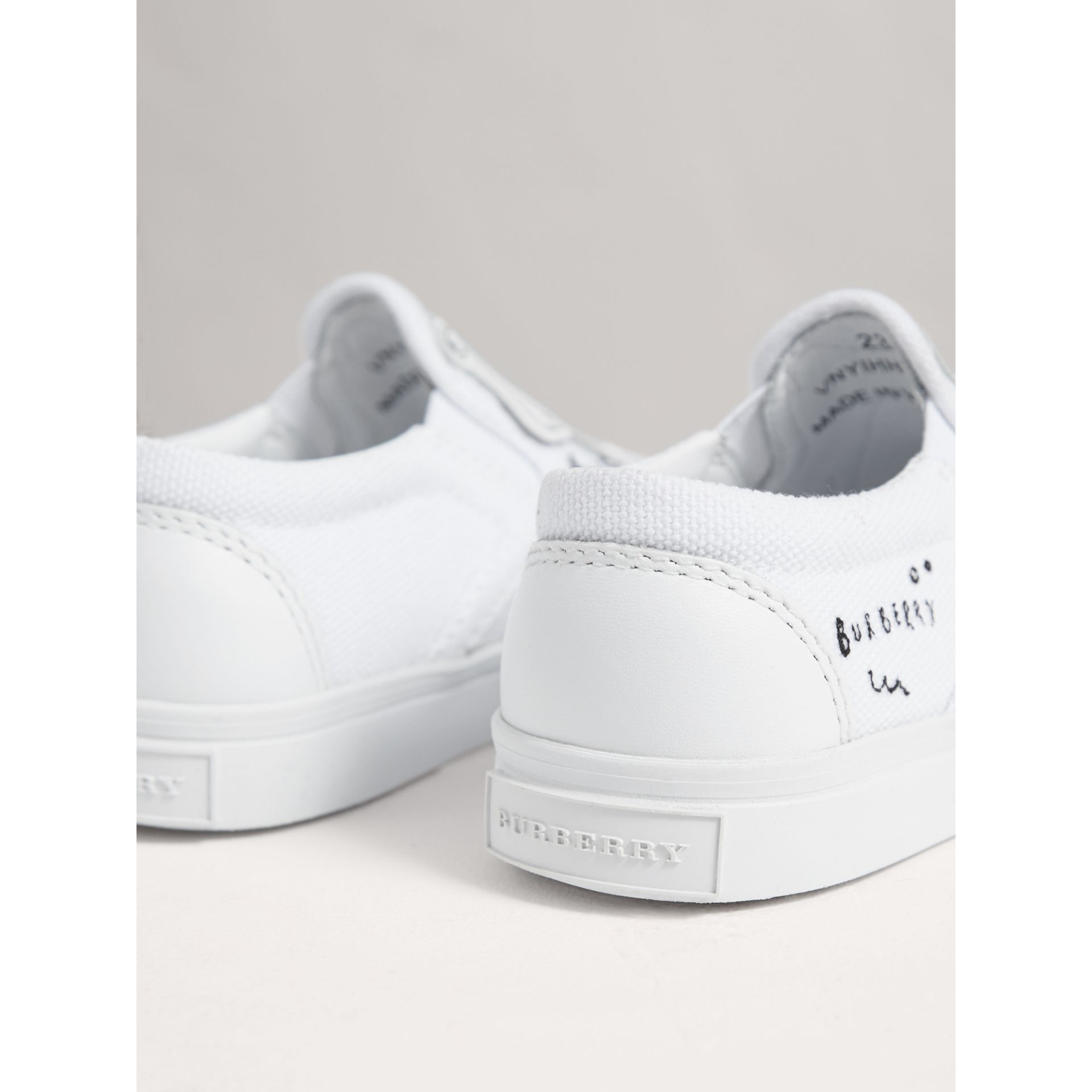 Doodle Print Slip-on Trainers in Optic White | Burberry - gallery image 3
