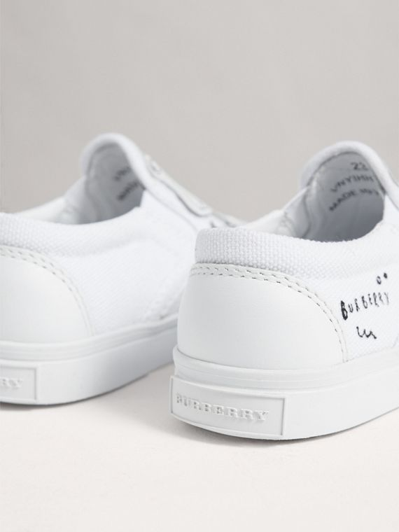 Doodle Print Slip-on Trainers in Optic White | Burberry Hong Kong - cell image 2