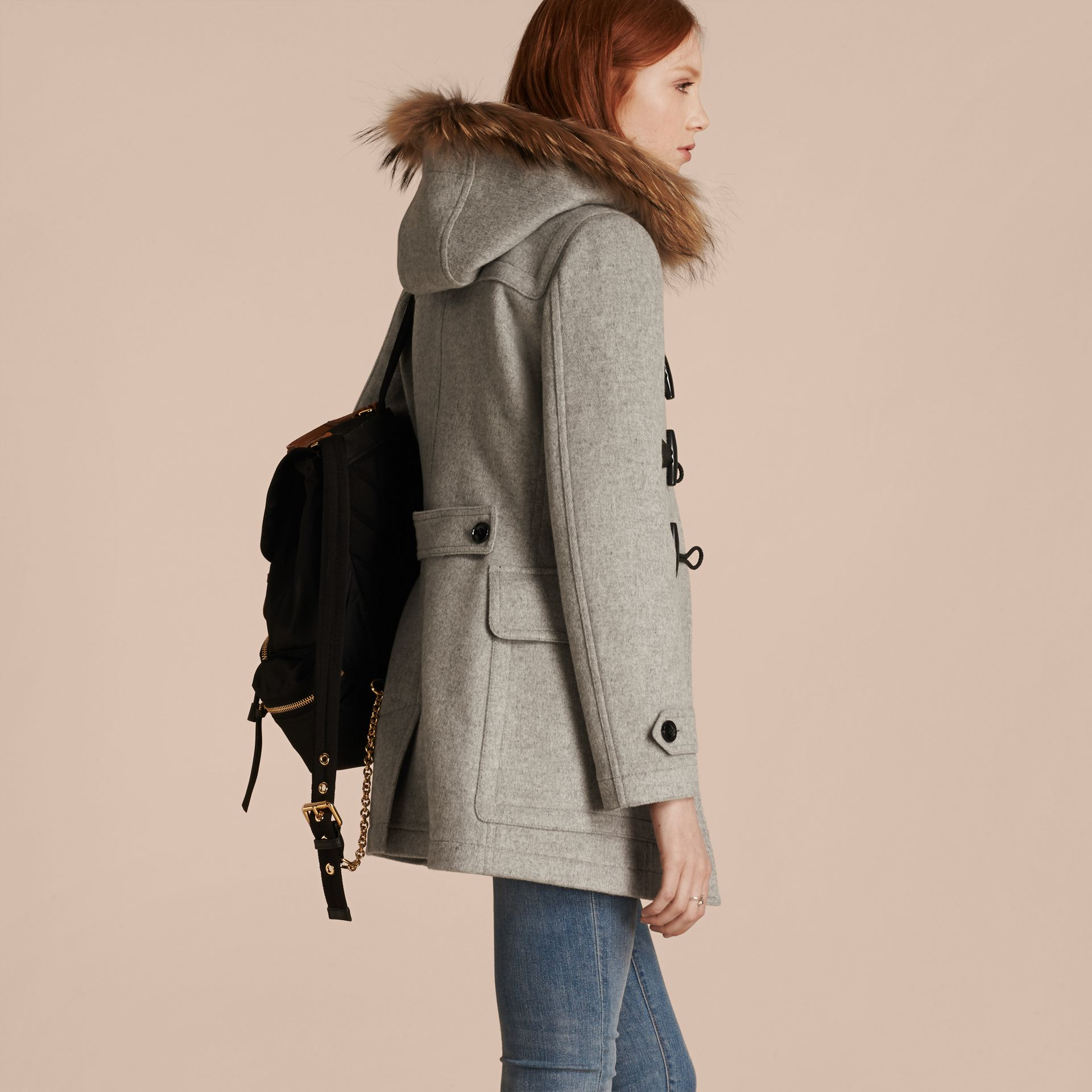 Light grey melange Wool Duffle Coat with Detachable Fur Trim - gallery image 3