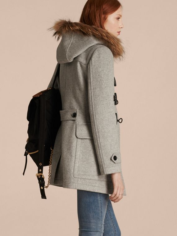 Light grey melange Wool Duffle Coat with Detachable Fur Trim - cell image 2