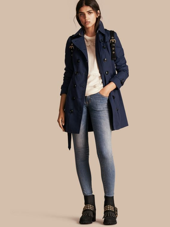 Cotton Gabardine Trench Coat Ink Blue