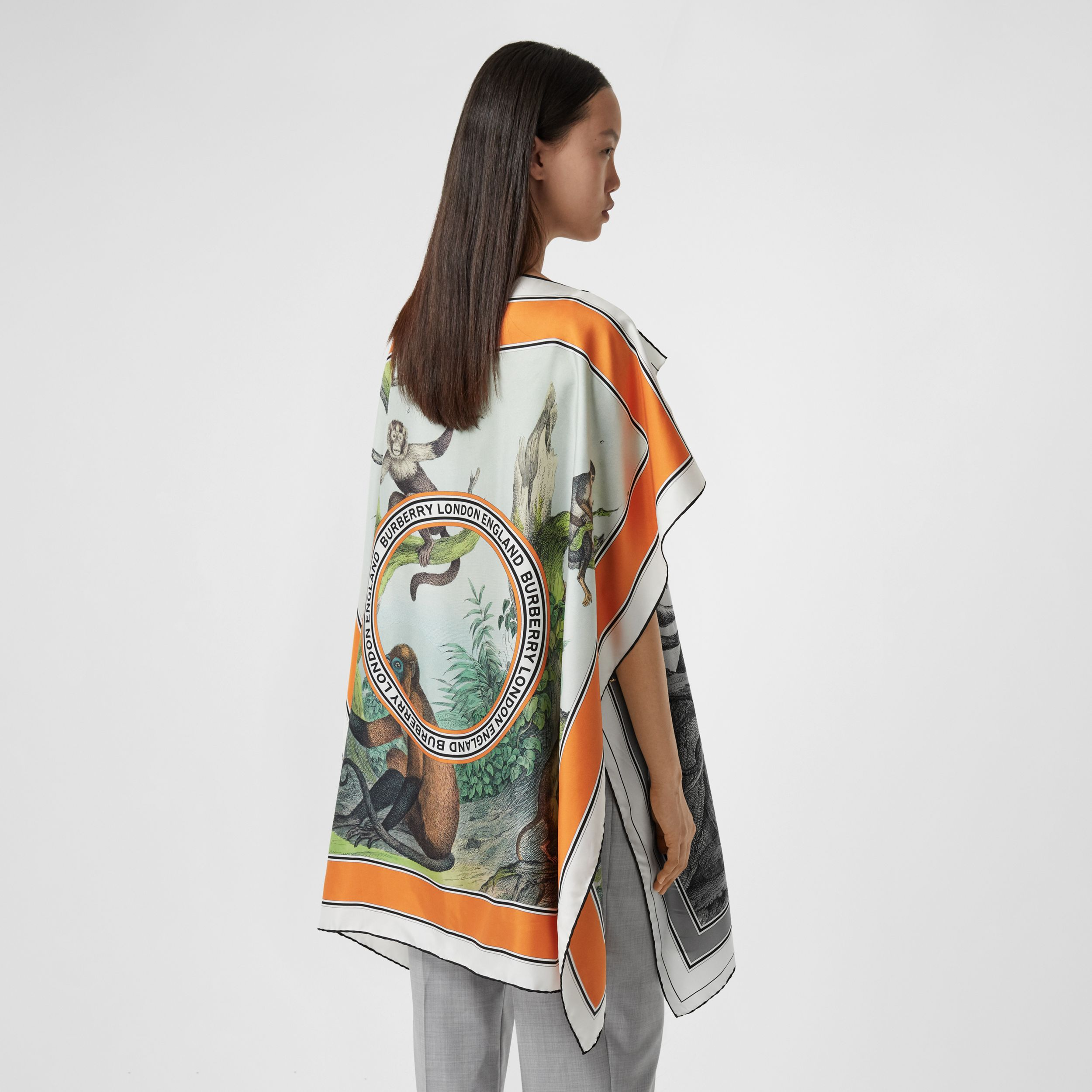 Monkey Print Silk Twill Cape in Black/white - Women | Burberry - 3