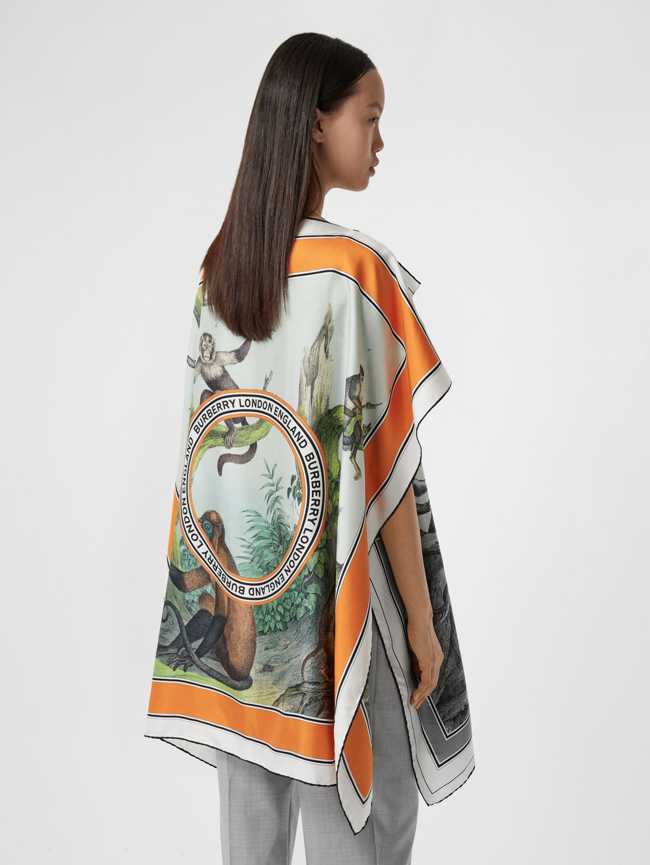 Monkey Print Silk Twill Cape in Black/white