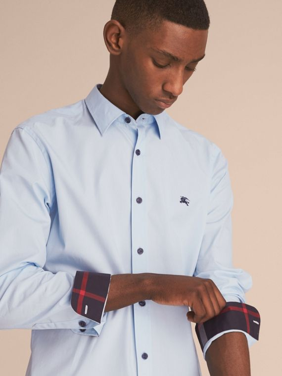 Resin Button Cotton Poplin Shirt in Pale Blue - Men | Burberry