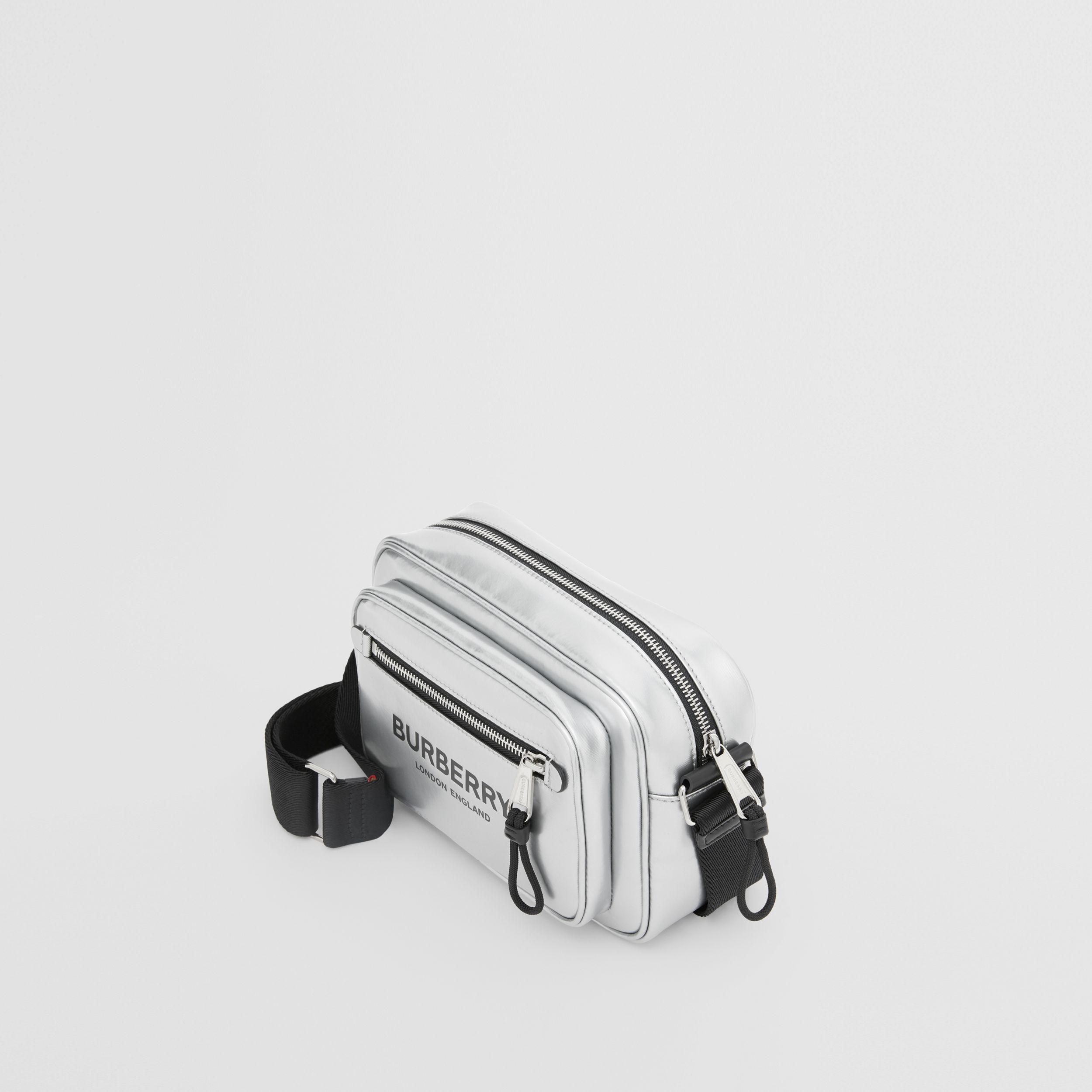 Metallic Coated Canvas Crossbody Bag in Silver - Men | Burberry - 4