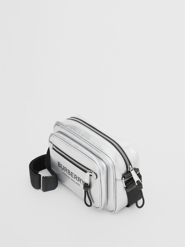 Metallic Coated Canvas Crossbody Bag in Silver - Men | Burberry Canada - cell image 2