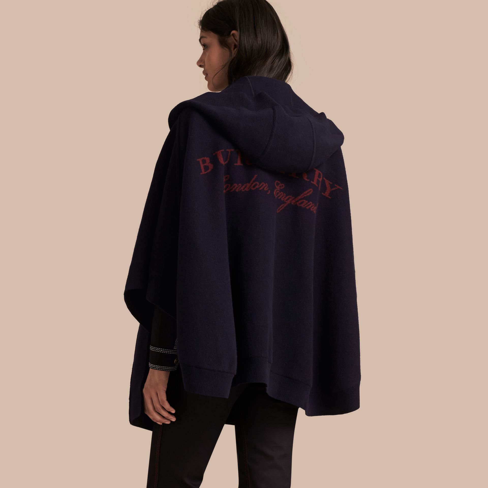 Navy/black Wool Cashmere Blend Hooded Poncho Navy/black - gallery image 1