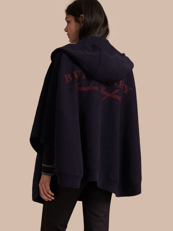 Wool Cashmere Blend Hooded Poncho Navy/black